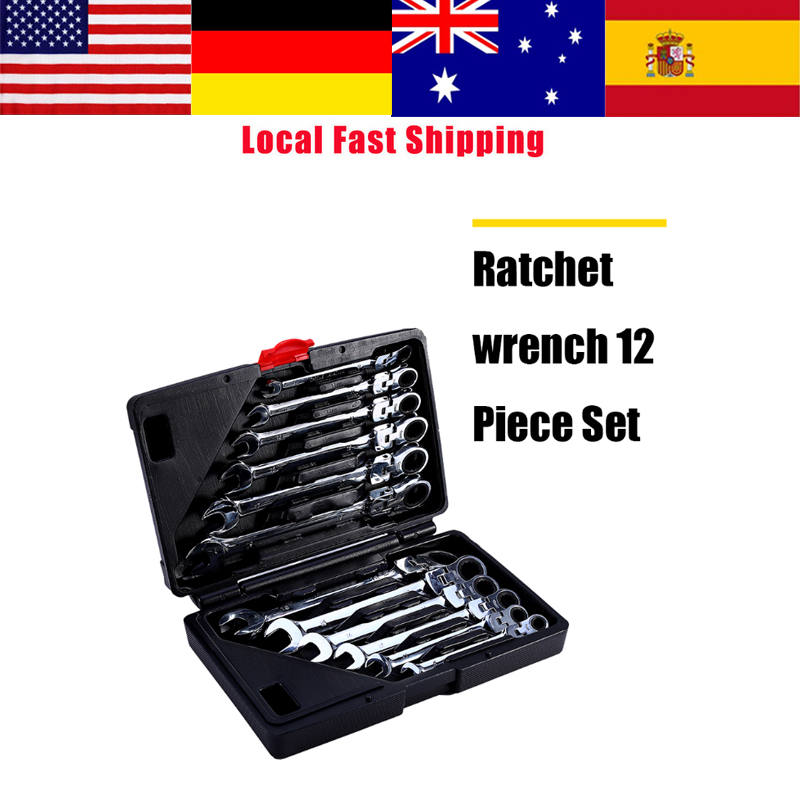 12Pcs Flexible Ratchet Wrench Set Ratcheting Socket Spanner Nut Tool Ratchet Handle Wrenches Repair Tools Torque Wrench Spanner yalku ratchet wrench ratcheting socket spanner 8 19mm reversible nut tool kit 7pcs wrench set ratchet spanner hand tool wrench