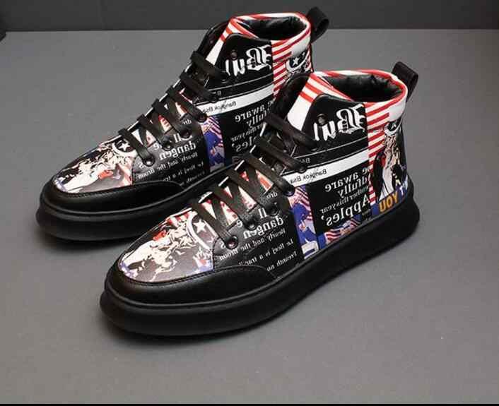 Для мужчин модные кроссовки Новое поступление весна Высокая парусиновая обувь в стиле «граффити» ботильоны Для мужчин для отдыха обувь для хип-хопа, уличные сапоги