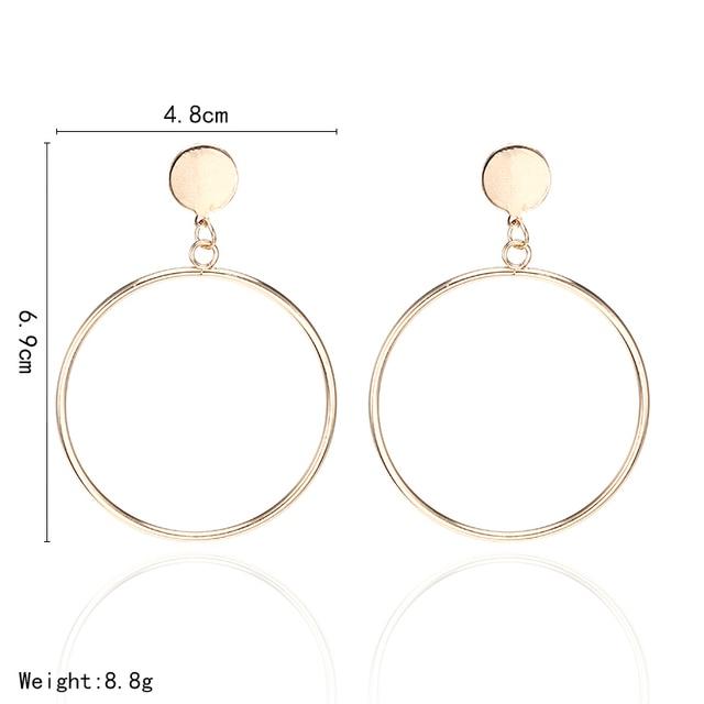 بسيطة أنيقة هوب أقراط جولة دائرة الذهبي الفضة اللون شخصية بيان أقراط للنساء Brinco أقراط E0336 1