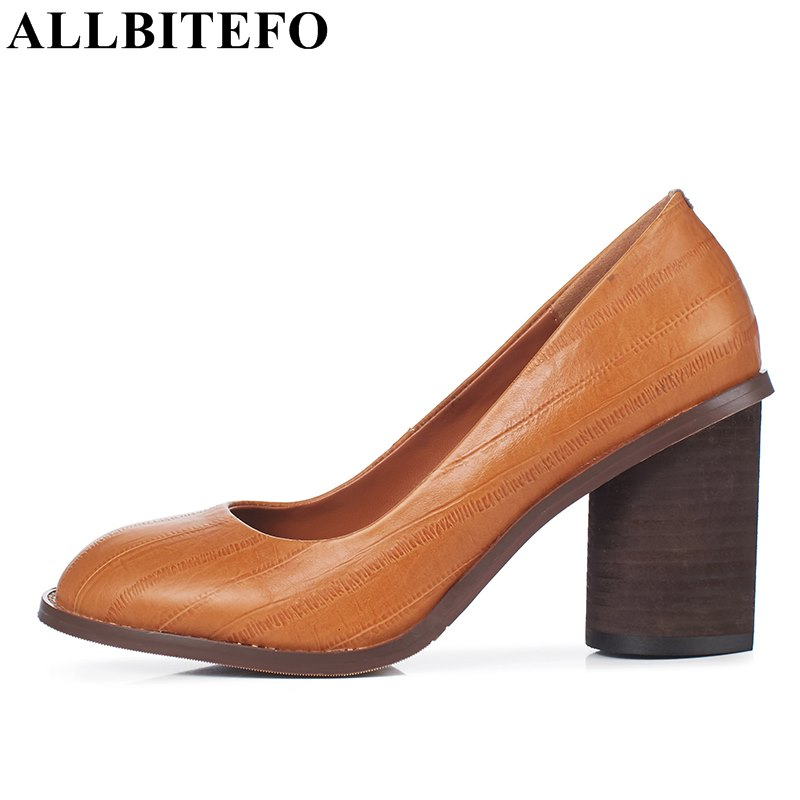 ALLBITEFO thick heel full genuine leather women pumps fashion high heel shoes office high heels girls party shoes size:33-43 amourplato women s ladies handmade fashion big large size thick block heel closed toe high heel party office pumps chunky shoes