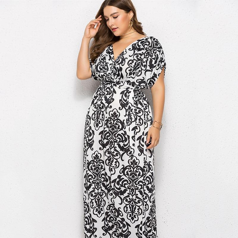 Sexy Women Plus Size 3XL Dress Printed V-Neck Short Sleeve Summer Long Dresses 2019 Bandage Self-tie Waist Maxi Robe Vestidos