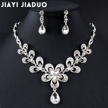 jiayijiaduo Necklace Earrings set of Bridal Jewelry Sets for Wedding Accessories Women crystal necklace set party gift jewelry
