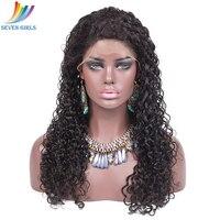 Sevengirls вьющиеся натуральные волосы парик с ребенком волосы бразильский Реми Синтетические волосы на кружеве парик предварительно сорвал 130%