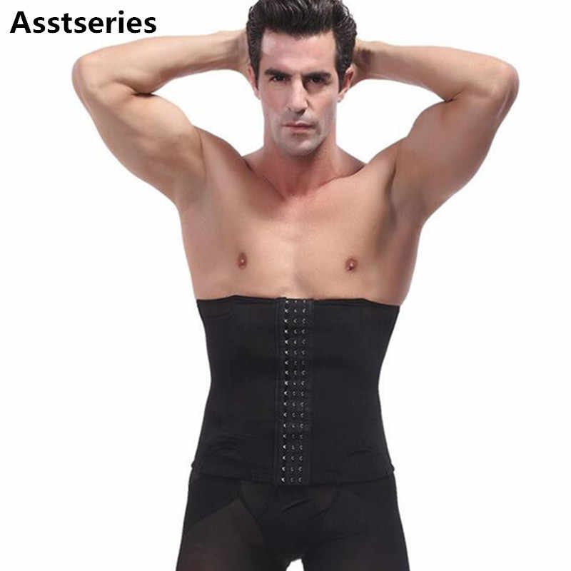 64397ac2c10a9 Male waist trainer steel bone vest body shaper tummy tuck belt weight loss corset  belly reducer