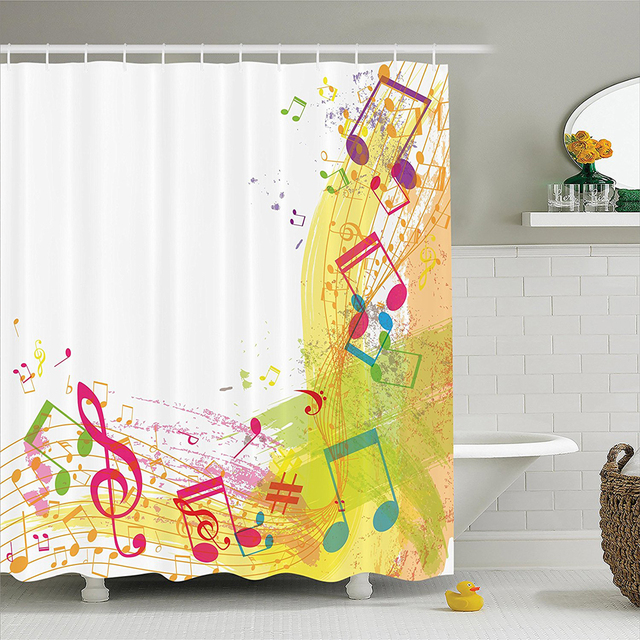 Music Abstract Grunge Themed Art With Notes Cheerful Modern Ilration Image Polyester Bathroom Shower Curtain