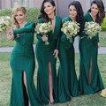 2017 V Profundo Neck Árabe Bainha Vestidos Dama de honra do Verde Esmeralda mangas compridas maid of honor vestidos de split prom festa de casamento vestido