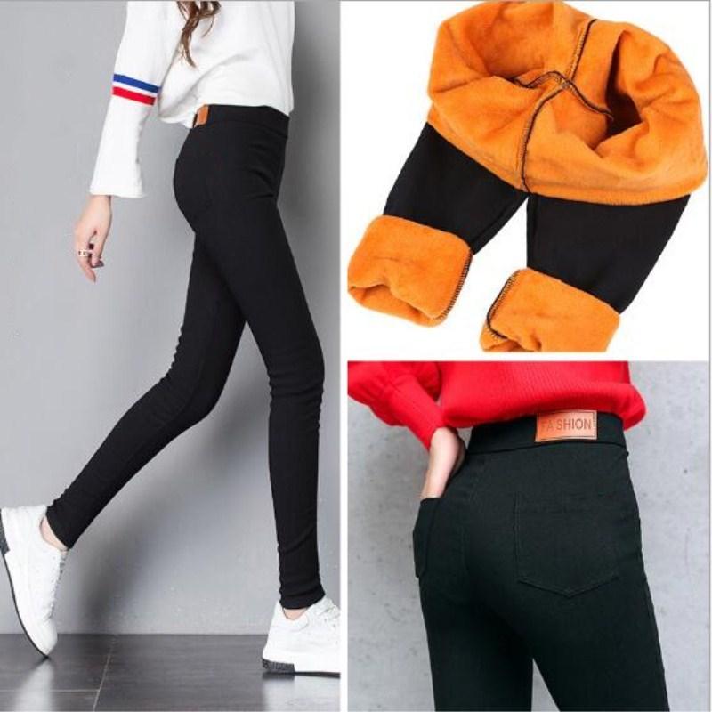 WKOUD Winter Pants Women Thick Warm Fitness Leggings Gold Fleeces Footless Leggings Female Skinny Black Legging Trousers P8496