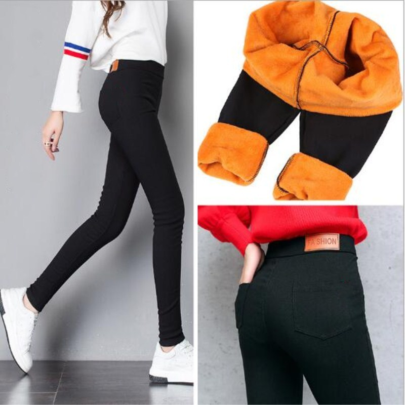 WKOUD Winter Pants Women Thick Warm Fitness   Leggings   Gold Fleeces Footless   Leggings   Female Skinny Black   Legging   Trousers P8496