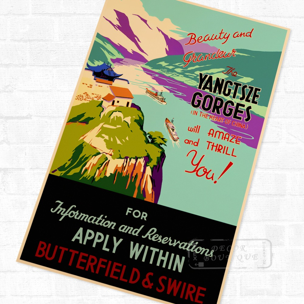 Poster design landscape - The Yangtsze Gorges China Tour Landscape Travel Poster Vintage Retro Decorative Diy Wall Stickers Home Posters