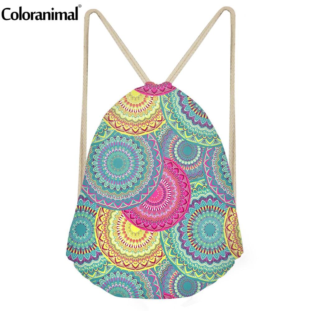 Coloranimal Bohemian Flower Print Brand Designer String Drawstring Bag Gym Sack For Women Men Small String Backpack Bolsa Mujers