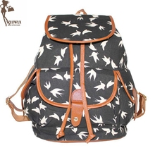 2a69bdd901 new fashion Swallows printing canvas Women backpack School backpack for  Teenage Girls Cute casual travel backpacks