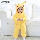 Anime Pokemon Pikachu Onesie Baby Onesie Newborn Boy Girl Romper Winter Warm Clothes Infant Cute Pajama Zipper Kid Party Costume