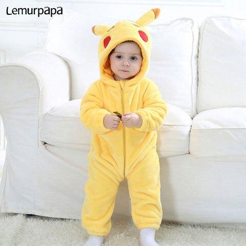 anime pokemon pikachu onesie macacao newborn boy girl romper do bebe roupas de inverno quente