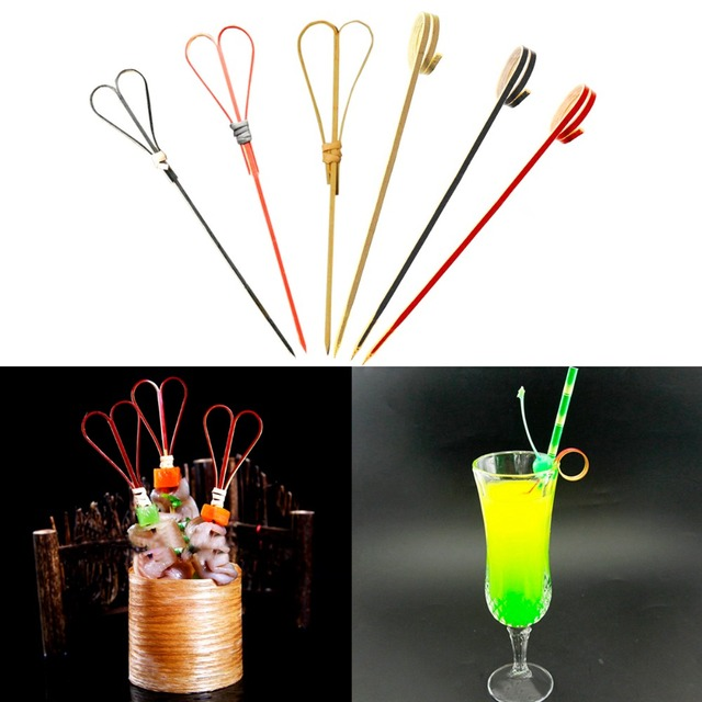 100pcs Bamboo Finger Circle Food Picks Cocktail Martini Drink Stick Picks Party Stirrer Swizzle Stick Wedding Festival Accessory
