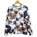 Otoño animal pug impresión completa mujer hombre moda sudadera divertido 3d sudaderas con capucha lindo streetwear tops plus size S-XXL de la gota