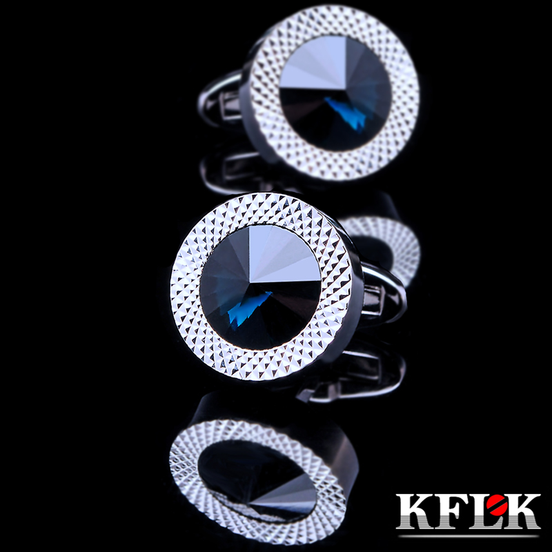 KFLK Jewelry Round French shirt cufflink for mens Brand Blue Crystal Cuff link Luxury Wedding Button High Quality Free Shipping