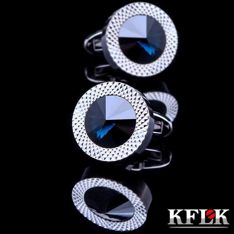 KFLK juvelyriniai apvalūs prancūziškų marškinėlių rankogalių segtukai vyrams Prekės ženklo mėlynos spalvos krištolo rankogalių saitai. Prabangus vestuvių mygtukas. Aukštos kokybės nemokamas pristatymas