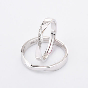 Funmor Exquisite Curved Adjustable 925 Sterling Silver Ring For Couple Women Men Wedding Engagement Decoration Accessories Gifts 3