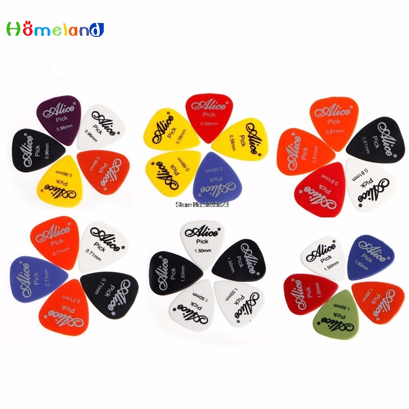 Acoustic Electric Guitar Picks Plectrum Various 6 Thickness Durable color random 5Pcs
