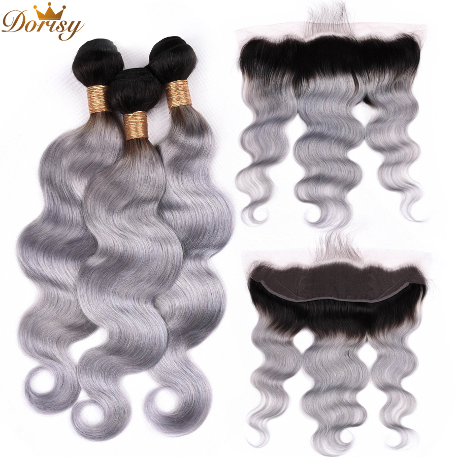 Remy T1b Grey Color Hair Body Wave 3 Bundles with 13x4 Ear to Ear Lace Frontal