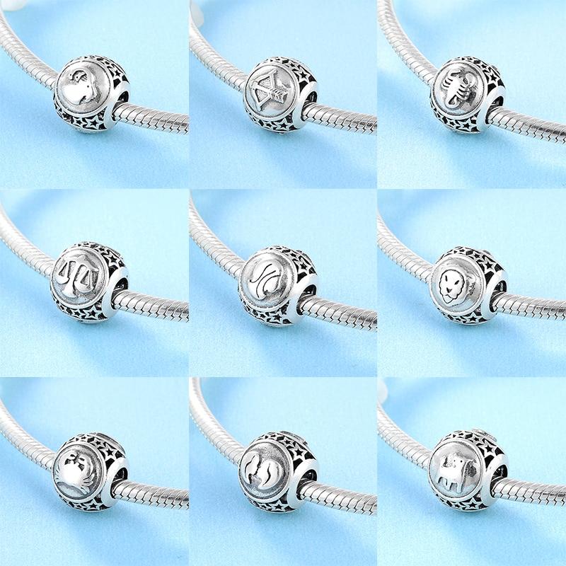 New Fashion 925 Sterling Silver Twelve Constellations Accessories Fine Beads Fit Original Pandora Charm Bracelet Jewelry Making