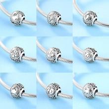 Новая мода, 925 пробы, серебро, 12 созвездий, аксессуары, тонкие бусины, подходят к оригиналу Pandora, очаровательный браслет, изготовление ювелирных изделий