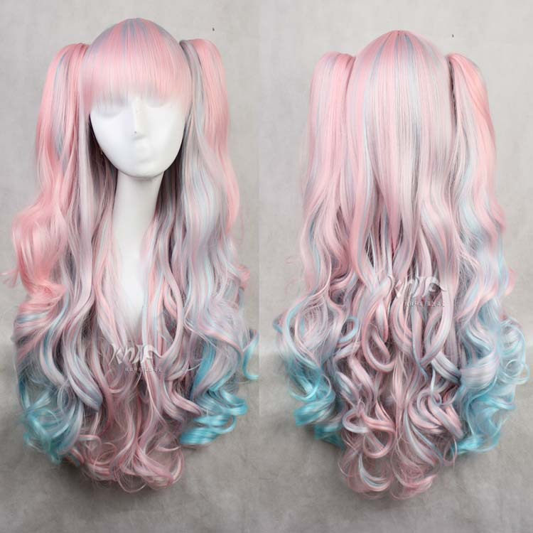 Good quality Lolita hair accessories 600g 85cm synthetic hair jewelry for pink blue ombre cosplay wigs