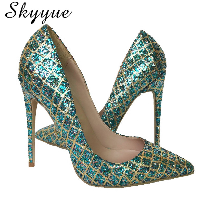 New Genuine Leather Gold Bling Bling Pointed Toe Women 10cm HIgh Heels Sexy Slip On Women Summer Pumps Shoes Women Wedding Pumps new arrival genuine leather pointed toe high heels stiletto shallow metal buckle pumps slip on women brand wedding shoes l8f3