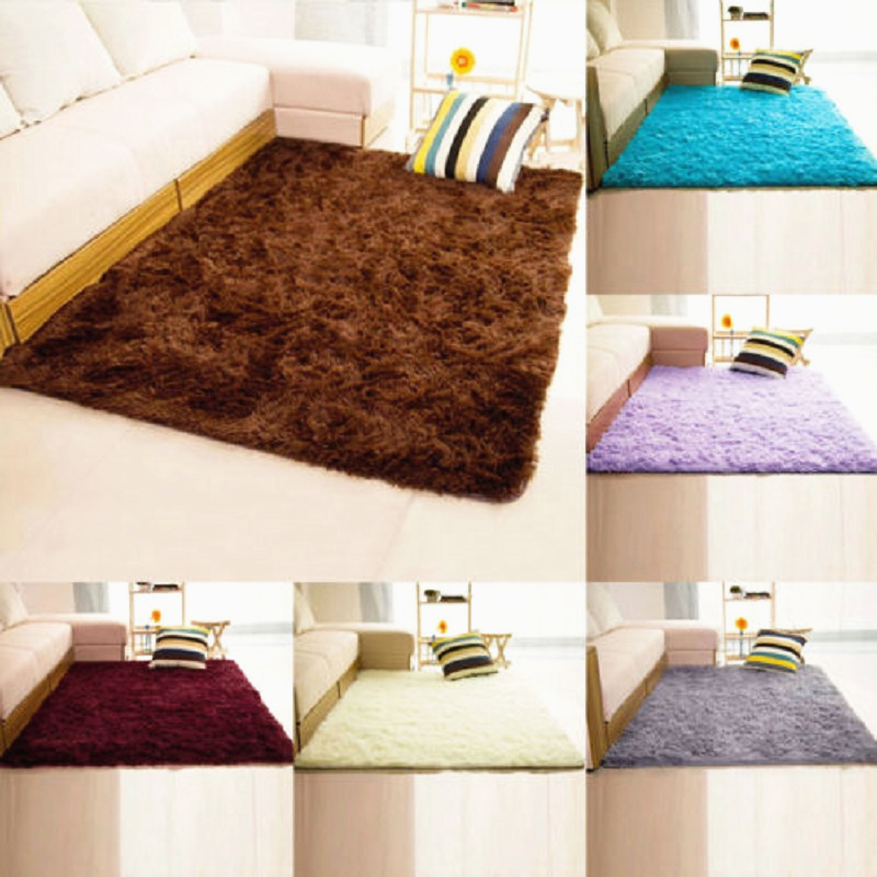 1 PC 5 Colors 40x60cm Polyester Shaggy Fluffy Rugs Anti Skid Area Rug Dining Room