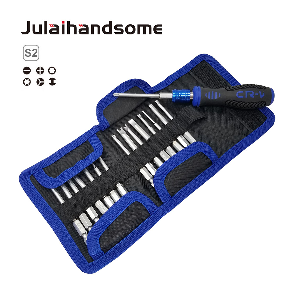 17PC Screwdriver Set With 16PC 75mm S2 Bits Self Lock Handle  Tool Bag Strong Magnetic Hand Tool Set