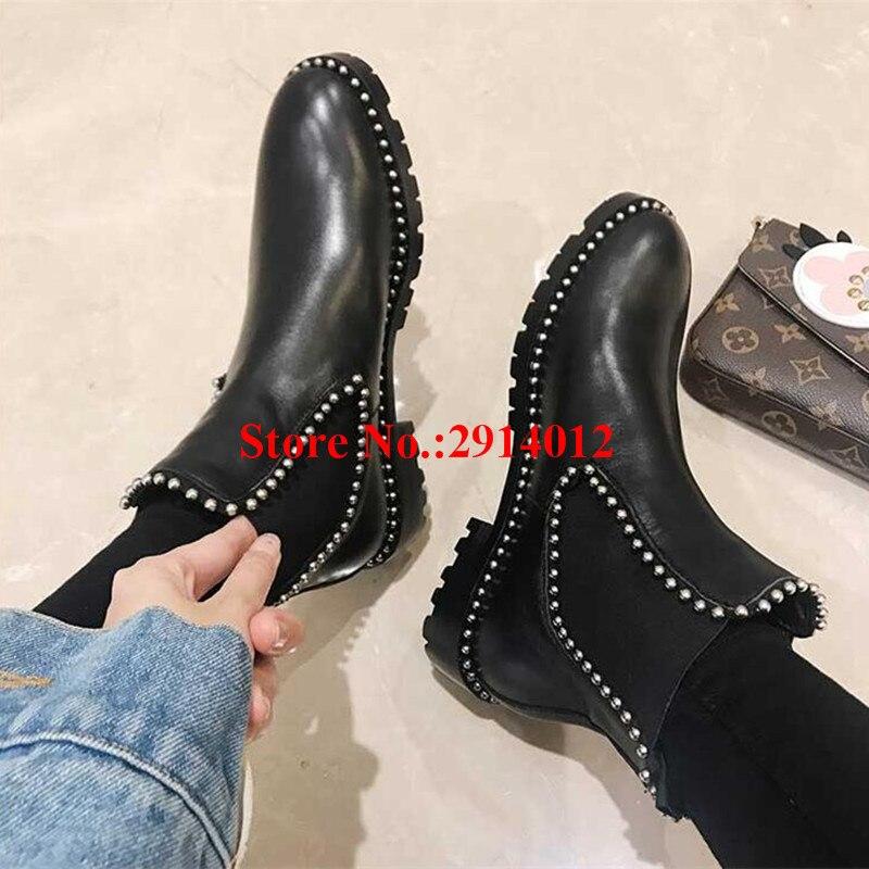 Cuero on Prisionero Perno Motocicleta Botines Zapatos Otoño Punky Slip Del Suave Invierno Chelsea Negro Mujeres Superstar Mujer Botas xAYUn7qY