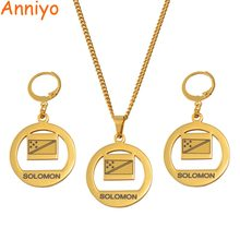Anniyo Solomon Flag Necklace Earrings Set for Women Girls Gold Color Jewelry Stainless Steel Patriotic Gifts #060521(China)