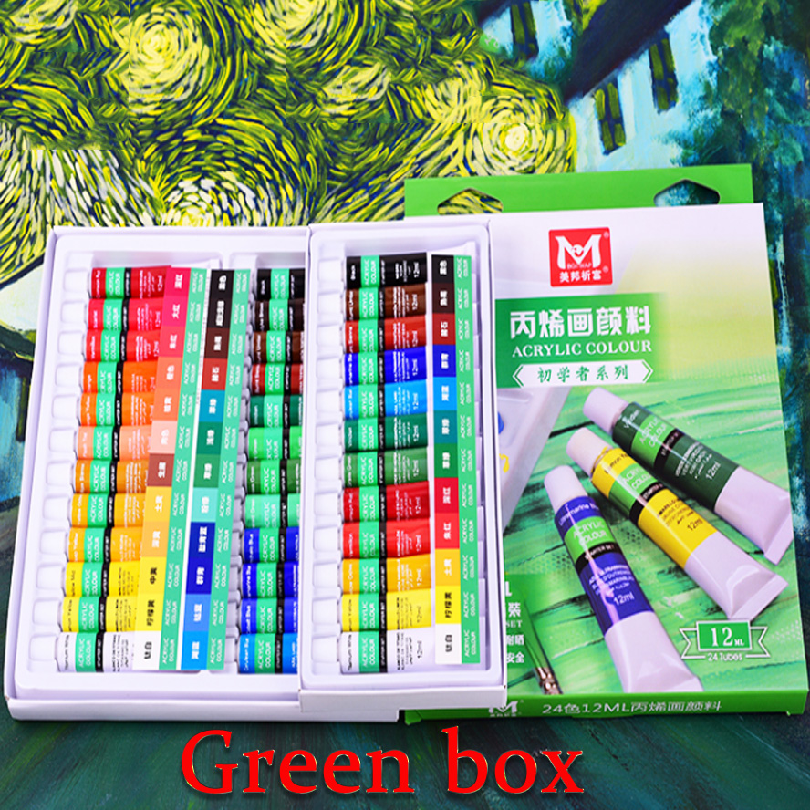 24 Colors 12ml Acrylic Paint set color Nail glass Art Painting paint for fabric Drawing Tools 24 colors 12ml acrylic paint set color nail glass art painting paint for fabric drawing tools