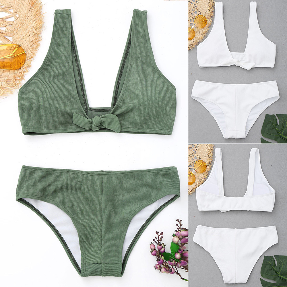 Womail Swimwear Women 2018 Sexy Bandage Bikini Set Solid Swimsuit female Bathing Suit Push Up Swiming suit maio feminino praia