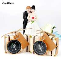 OurWarm Party Favors Travel Themed Wedding Supplies Compass + Kraft Paper Gift for Guests Birthday Wedding Souvenir