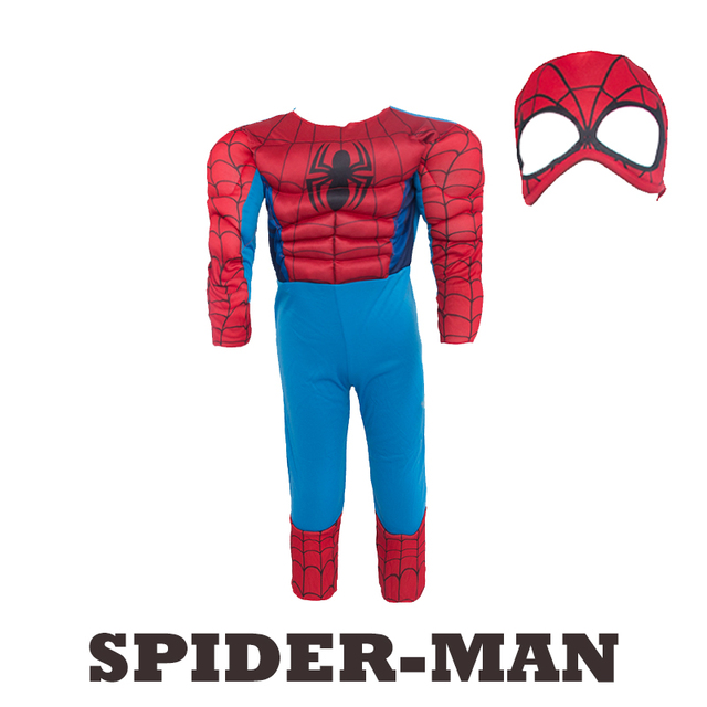 Child Muscle Spiderman Costume Fantasy Halloween Costumes for Kids Boy Superhero Party Supply