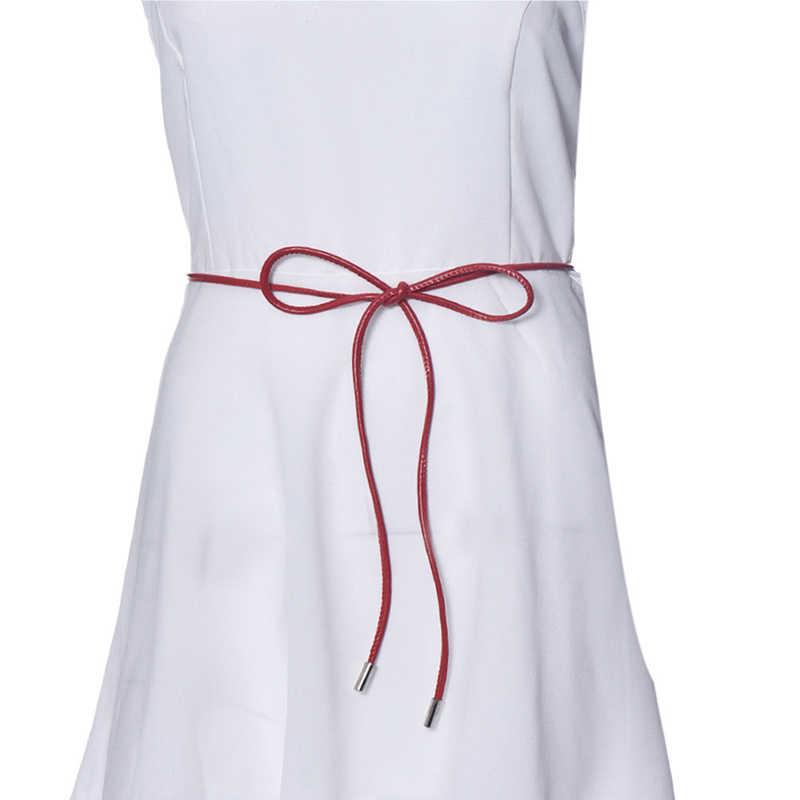 בציר מותניים שרשרת עור נשים חגורות צבעים בוהקים אלגנטי שיער דק מותניים להקת נשים חגורת שמלת אבזרים