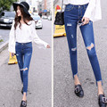 women skinny jeans new style jeans high waist Nine points trousers Knee hole ripped jeans pencil Stretch Denim pants plus size