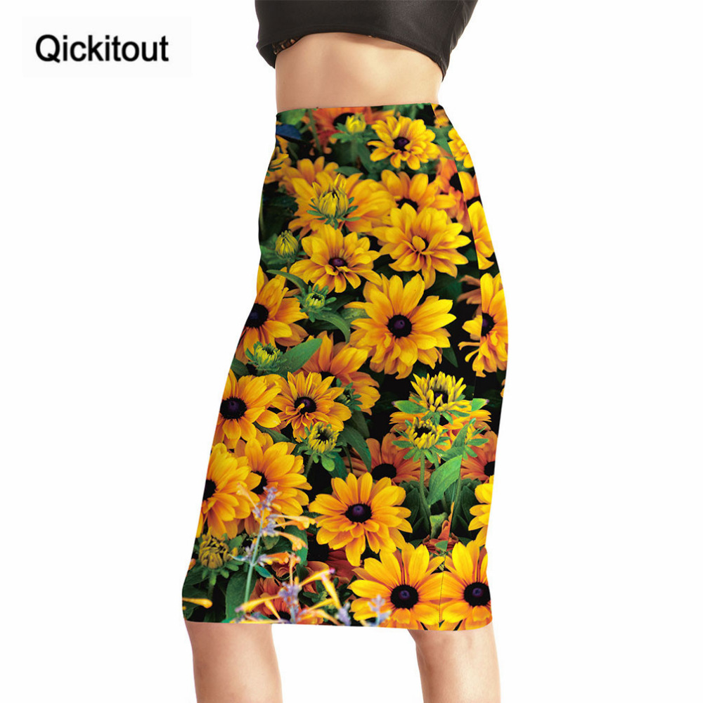 Qickitout Skirts Hot Products Fashion New arrival Women s Sexy sunflower 3D Print  Skirts High Waist Package 27a52e168384
