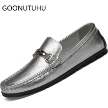 2019 new fashion men's shoes casual genuine leather loafers male silver & golden slip on big size driving shoes for men hot sale все цены