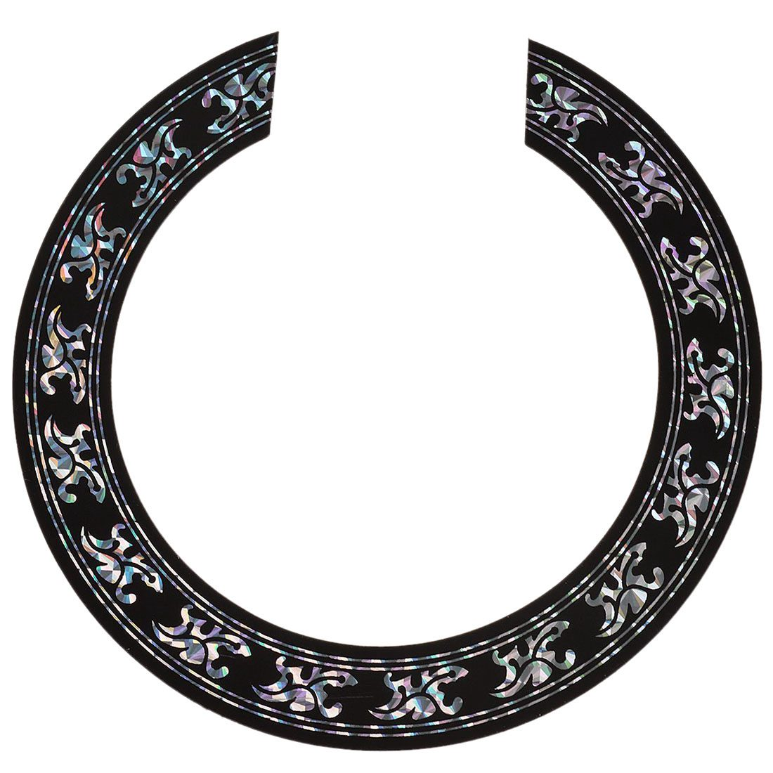 Sound Hole Rose Decal Sticker For Acoustic Classical Guitar Parts Black+Silver