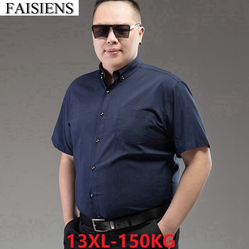 12XL 14XL Men Black Formal Shirts Office Short Sleeve Larger Size Big 10XL Blue Business 54 58 60 62 64 66 68 Cotton Dress Shirt