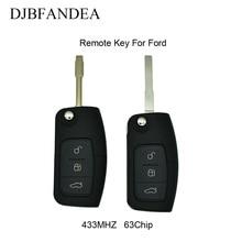 DJBFANDEA Flip Remote Key For Ford Focus 2 Mondeo C S Max Galaxy Fiesta Fob Car Smart Keyless Entry TRANSIT 433MHZ 63Chip