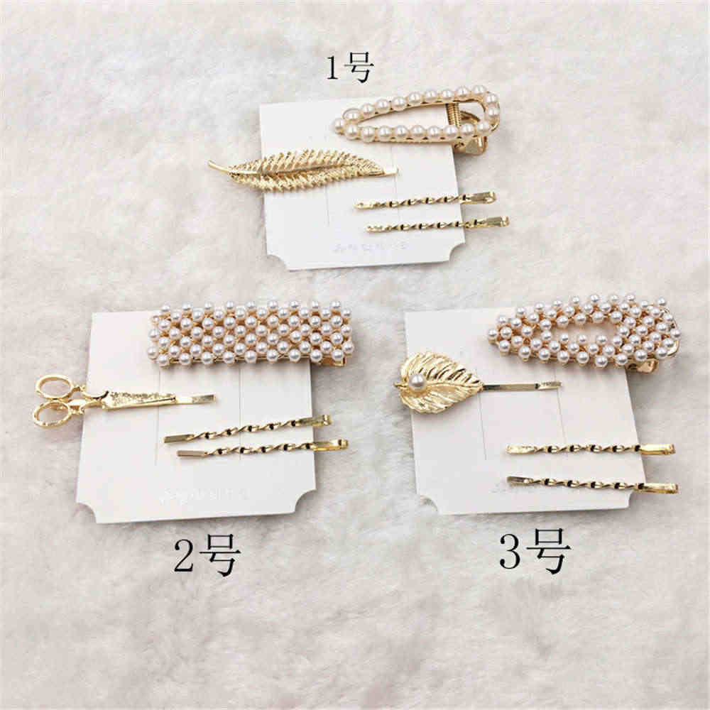 4PCS/Set Hot Sale Women Girls Elegant Pearl Geometric Alloy Hair Clips Set Barrettes Headwear Hairpins Female Hair Accessories