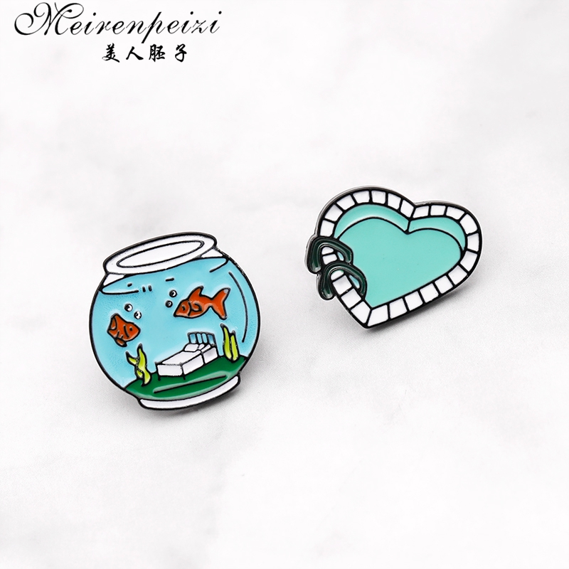 Meirenpeizi Sleep With The Fishes Pin Cartoon fish tank brooch Two fish and one bed creative badge Denim backpack sweater pin in Brooches from Jewelry Accessories