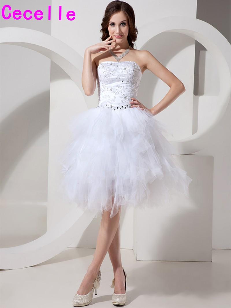 White Ruffles Tulle Skirt Lace Short Cocktail Dress With Beaded Waist Sweetheart Neck Knee Length Robe De Cocktail Custom Made