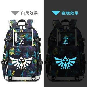 Image 3 - The Legend of Zelda:Breath of the Wild Game Printing Zelda Backpack Canvas School Bags USB Charging Laptop Backpack Travel Bags