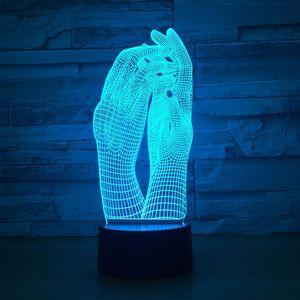 Image 1 - Liebe Zwei Hände Schöne 3D Lampe LED Nacht Licht USB Touch Tisch Lampe Dekoration Party Urlaub Innen Beleuchtung Abbildung Lampe