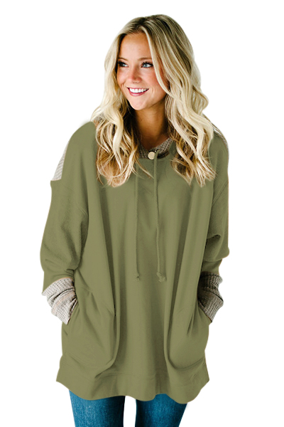 2018 New Arrival Autumn Womens Casual Waffle Knit Splice Khaki Blue Army Green Pocket Hoodie LGY250544