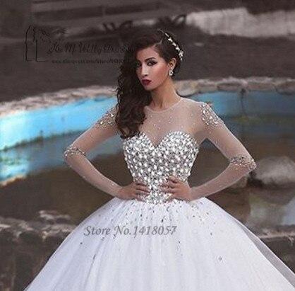 618e7857d White Ball Gown vestidos boda de lujo 2016 Rhinestones de manga larga novia  de la boda vestidos de encaje Vestido de Noiva Princesa en Vestidos de novia  de ...